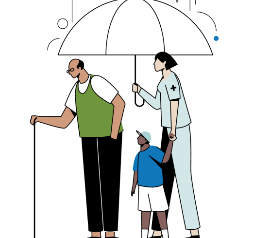 nemt program man under umbrella with nurse and baby illustration