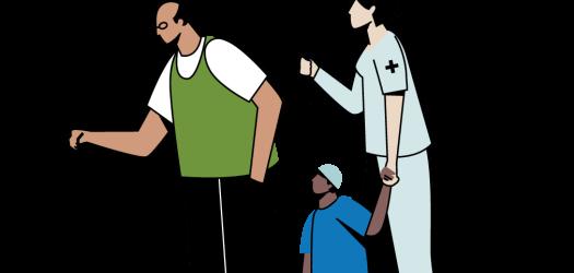 nemt program man under umbrella with nurse and baby illustration
