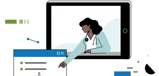 woman leaning out of ipad to point at medical chart illustration