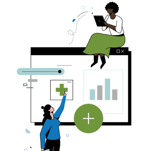 illustration of women sitting on graph and pointing at it