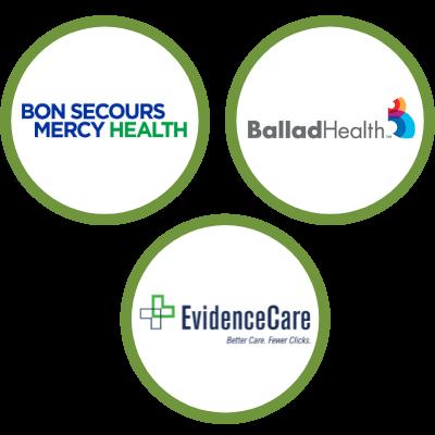 bon secours evidencecare and ballad logos in green circles