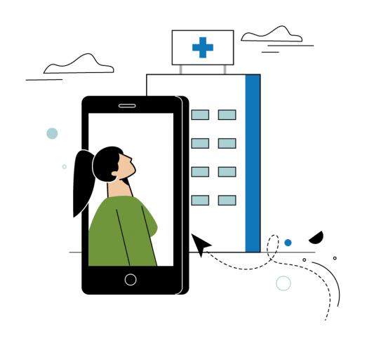 woman in a phone looking at a hospital organization